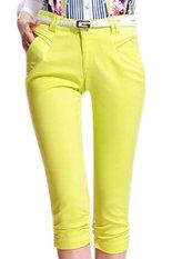 Plain Casual Regular Womens Pants Yellow