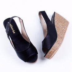 Pluvia Slingback Wedges Sandal MS10 - Hitam
