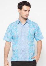 Pomona Batik Kemeja Lengan Pendek - Biru Muda