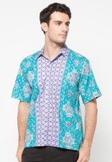 Pomona Batik Kemeja Lengan Pendek - Hijau Tosca