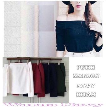 Popuri Fashion Blouse Sabrina Spencer - Navy - Spandek Blouse Baju Atasan Wanita Murah Baju Kekinian