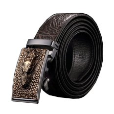 Men Luxury Crocodile Genuine Leather Automatic Belt MBT08911-2 Coffee - Intl