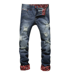 Men Casual Straight Ripped Knee Skinny Jeans
