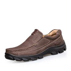 Pria Kasual Sepatu Kulit Vintage Kulit Asli Sepatu Kenyamanan Kantor Sepatu Bernapas Anjing Sepatu Moccasin Driving Sepatu Genuine Leather Shoes Brown
