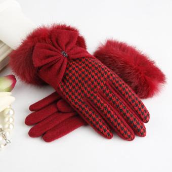 Ptah Korea Fashion Style houndstooth perempuan mulut wol sarung tangan hangat sarung tangan (Merah marun