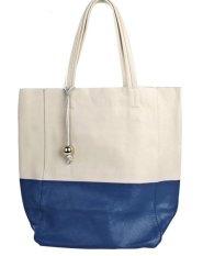 PurCattle Women's Fashion Cow Leather Big Handbag Shoulder Bad Top Handle (Blue) (Intl)