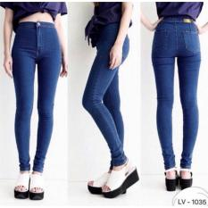 PusatFashion JEANS HIGH WAIST - NAVY BLUE