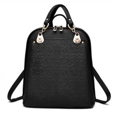Quality Assurance Backpack 2016 New Trends Retro Flower Spring And Summer Student Bag Fashion Leisure Handbag Free Shipping (Black) - Intl