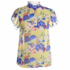 Quality Summer Style Tops Flower Print Cheap Clothes China Chiffon Casual Female Blusa Renda Fashion T Shirt Women Tops Tee S-2XL Style 2