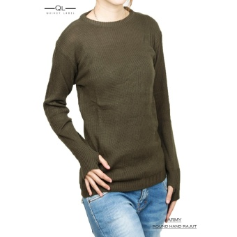 Quincy Label Erica Sweater Round Hand Rajut Wanita - Army
