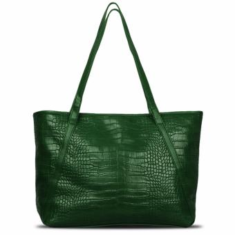 QuincyLabel Croco Himalayan Tote Bag - Dark Green