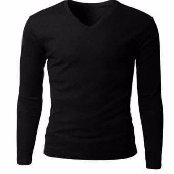 QuincyLabel Grosir Kaos Panjang V-Neck - 3pcs - Black