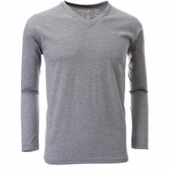 QuincyLabel Grosir Kaos Panjang V-Neck - 3pcs - Light Grey