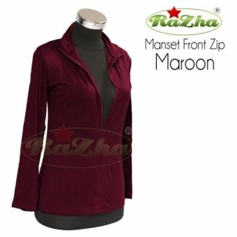 Razha Manset Front Zip Atasan Lengan Panjang Maroon