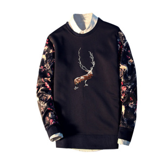Reindeer Printed Long Sleeve Men Pullover Sweatshirt (Black)