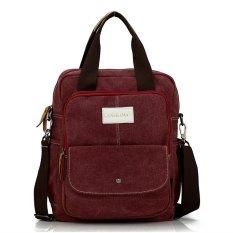 Retro Multifunctional Portable Canvas Top-Handle Bag Shoulder Messenger Bag And Backpack (Wine Red) - Intl