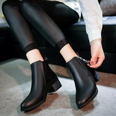 Rising Bazaar Women Boots Martin Boots Pointed Thick With Low Side Zipper England Boots (Black) - intl