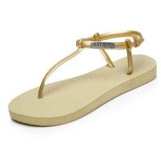 Roman Sandals Fashion Wild Women Sandals Flat Flip-flops Sandals (Glod) - Intl