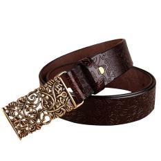 Rondaful Coffee Good Quality 1PC Fashion Women Leather Belts Vintage Belt All-Match Belt For Women Metal Buckle Vintage Carved Belts