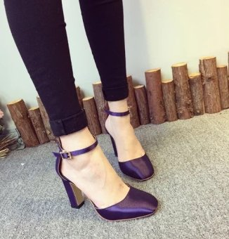 Round Shallow High-Heel Shoes Thick Shoes With Satin Buckle Women Shoes (Purple) - intl