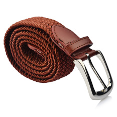 S & F Woven Braided Elastic Stretch Belt Silver Buckle Ideal For Jeans Camel