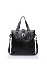 SAMMONS Men Real Cow Genuine Leather Purse Shoulder Bag Handbag Briefcase Messenger Tote (Black)