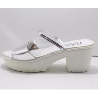 sandal heel wanita - mika siver
