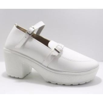 sandal heel wanita - putih full