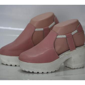 sandal heels wanita - tali karet - pink