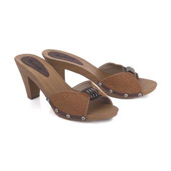 Sandal High Heels Wanita | Sendal Cewek Warna Coklat - LPI 199