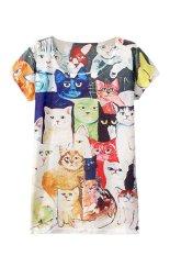 Sanwood Ladies Sleeveless Cat Printed T Shirt Tops