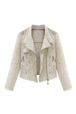 Sanwood Women's Long Sleeve Tops Suit Slim Coat Lace Short Jacket Apricot