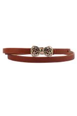 Sanwood Women's PU Leather Thin Narrow Bowknot Waist Belt Waistband Camel