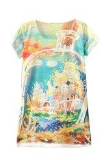 Sanwood Women's Short Sleeve Halobios Printed T Shirt Tops