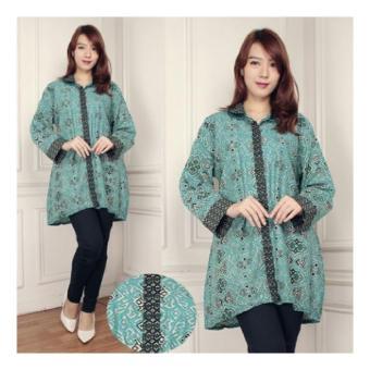 SB Collection Atasan Batik Sukhi Jumbo Kemeja-Hijau full