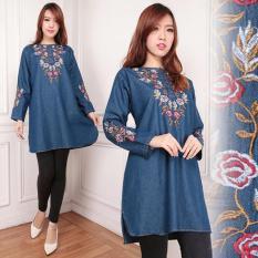 Vita Biru Tua Source SB Collection Atasan Miya Jumbo Blouse Jeans Kemeja Wanita .