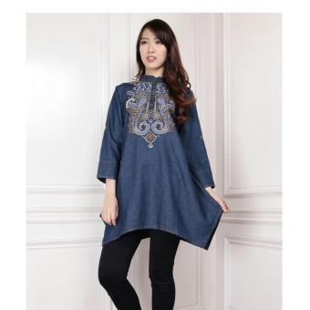 SB Collection Atasan Wanita Nadila Blouse jeans Bordir Gold-Biru Tua