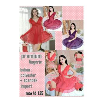 Sb Collection Baju Tidur Sexy Lindsay Lingerie set-Merah