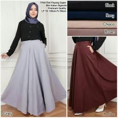 ... Maxi Jasmira Payung Jeans Long Skirt Biru Tua Source Black Source SB Collection Fifah Rok Payung