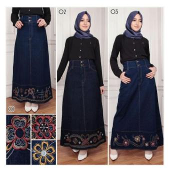 SB Collection Rok Panjang Daira Long Skirt-Biru 03