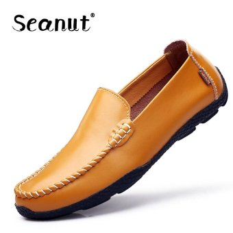 88404bab8862d Seanut Fashion Genuine Leather Casual Loafers Men Driving Shoes (Light Brown)  - intl