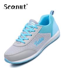 Seanut Fashion Wanita Jala Bernapas Sprots Sepatu Lari (Biru)