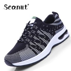 Seanut Flying Wire Cloth Breathable Mesh Shoes Sports Shoes Casual Men 's Shoes (Black, White) - Intl