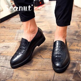 Seanut men's fashion Crocodile pattern business leather shoes/formal shoes (Black) - intl
