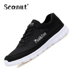 Seanut Men's Fashion Mesh Low To Help Lace-up Casual Sports Shoes Sneakers 38-48 (Black) - Intl