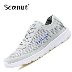 Seanut Men's Fashion Mesh Low To Help Lace-up Casual Sports Shoes Sneakers 38-48 (Grey) - Intl