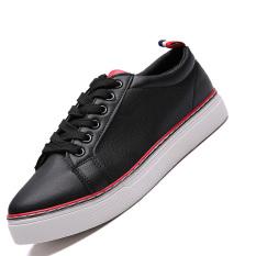 Seanut Men's Flats Casual Skater Shoes (Black)