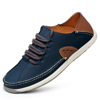 Seanut Men's Formal Shoes Casual Leather Shoes (Blue)