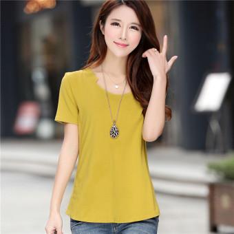 ... Perempuan Yang Baru V Neck T Shirt Lengan Kuning. Sederhana katun yang longgar lengan pendek lengan pendek kemeja versi Korea dari t shirt baru