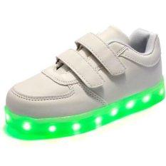 Senter LED Anak-anak Anak-anak Berwarna-warni tanpa tali Sepatu Sneakers Non-Slip Kecil (putih) - intl